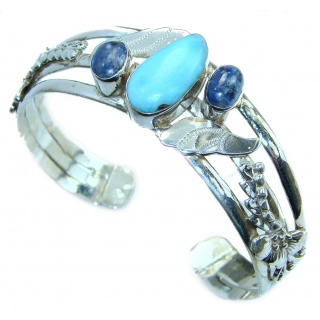 Perfect Harmony Blue Larimar Kyanite .925 Sterling Silver handcrafted Bracelet / Cuff