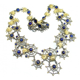 Huge Spider's Web genuine Lapis Lazuli 18 ct Gold Rhodium over .925 Sterling Silver handcrafted necklace