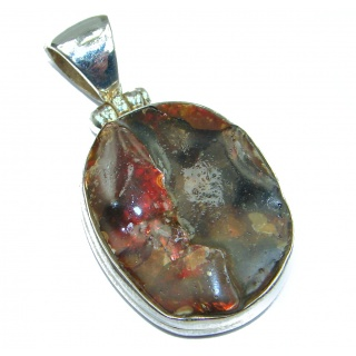 Perfect Authentic Fire Agate .925 Sterling Silver handmade Pendant