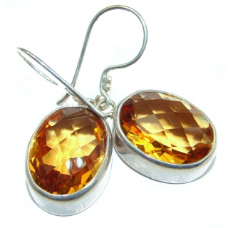 Genuine Golden Quartz .925 Sterling Silver handmade Earrings