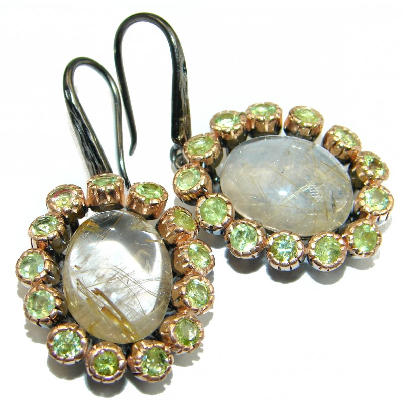 Genuine Golden Rutilated Quartz .925 Sterling Silver handmade Earrings