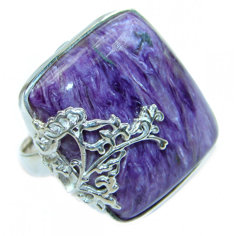 Natural Siberian Charoite .925 Sterling Silver handcrafted ring size 8 1/2