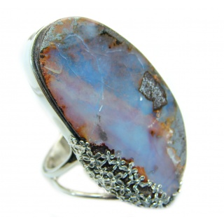 Huge Australian Boulder Opal .925 Sterling Silver handcrafted ring size 7 adjustable