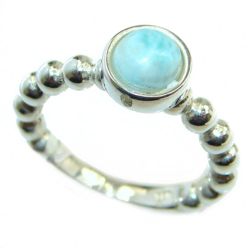 Natural Larimar .925 Sterling Silver handcrafted Ring s. 5 3/4
