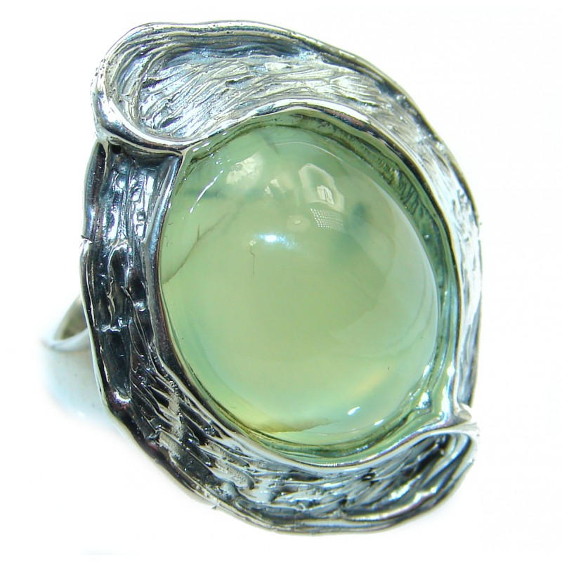 Natural Moss Prehnite oxidized .925 Sterling Silver handmade ring s. 8 adjustable
