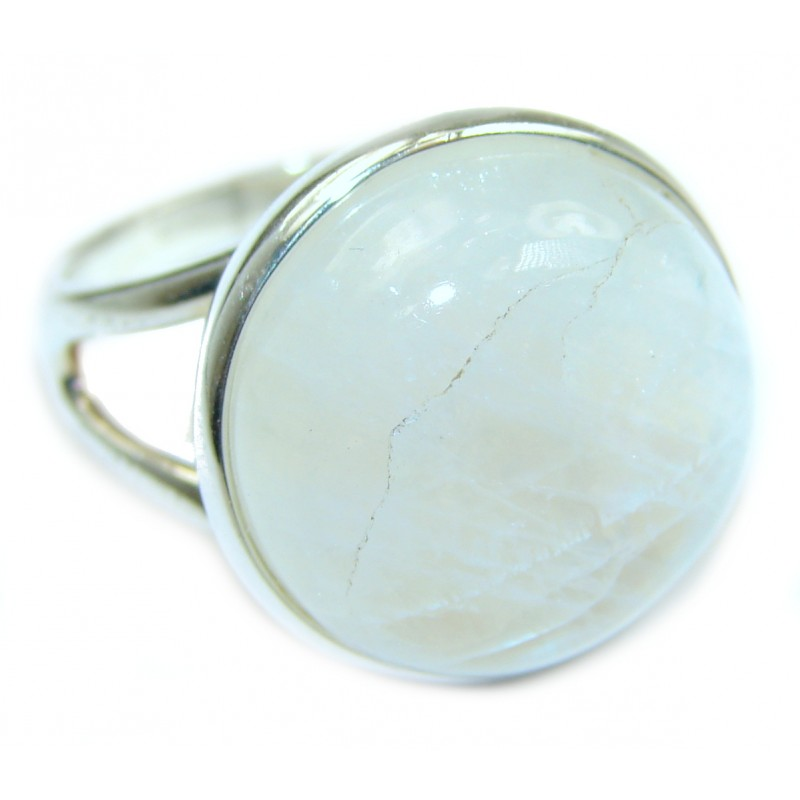 Fire Moonstone oxidized .925 Sterling Silver handcrafted ring size 7 3/4