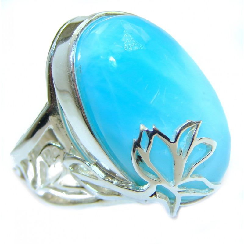 Blue Power Larimar .925 Sterling Silver handmade ring s. 8 adjustable