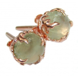 Juicy Authentic 10mm Moss Prehnite 14K Gold over .925 Sterling Silver handmade earrings