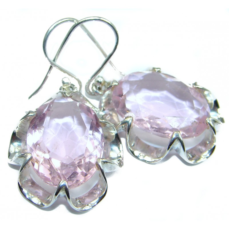 Perfect Pink Quartz .925 Sterling Silver handmade earrings