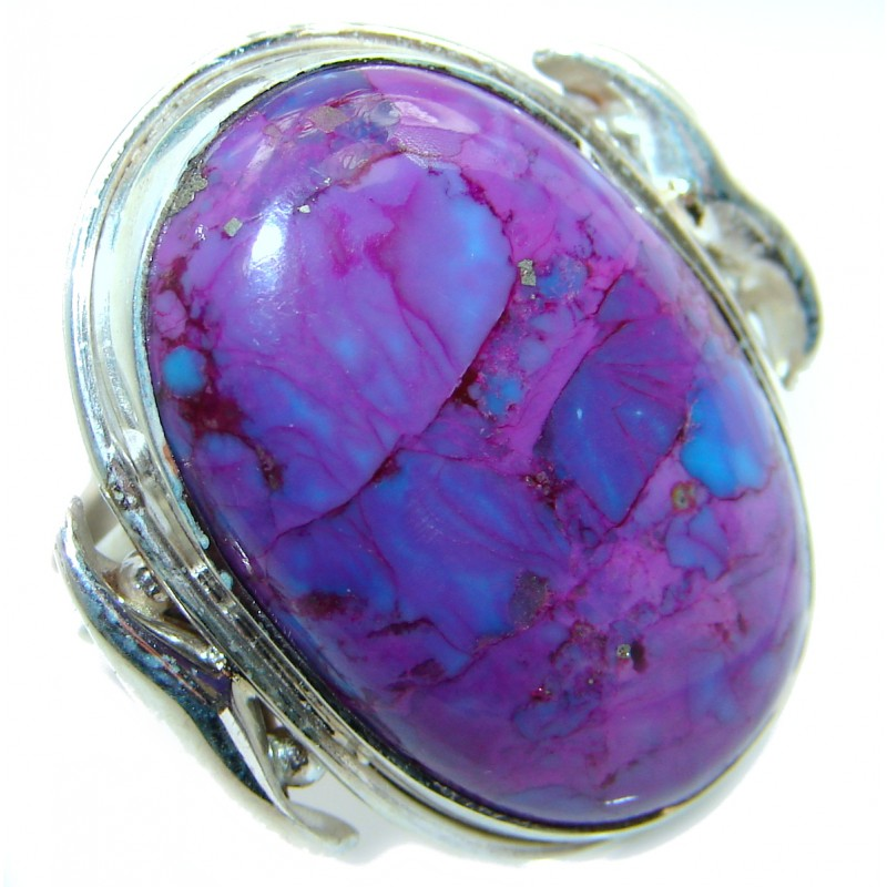 Huge Purple Turquoise .925 Sterling Silver ring; s. 8 1/2