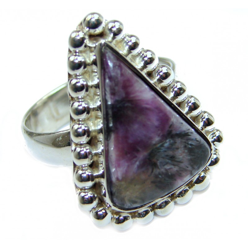 Natural Siberian Charoite .925 Sterling Silver handcrafted ring size 9