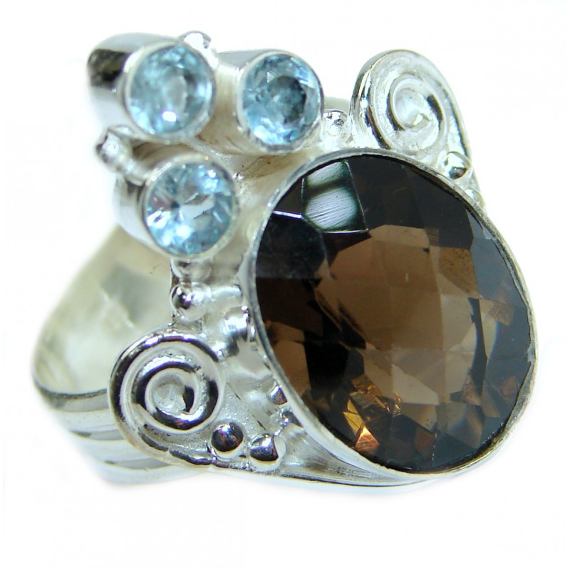 Incredible Smoky Quartz .925 Sterling Silver Ring s. 8 1/4