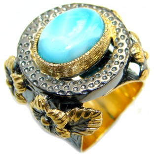 Treasure Blue Larimar two tones .925 Sterling Silver handmade ring s. 7 adjustable