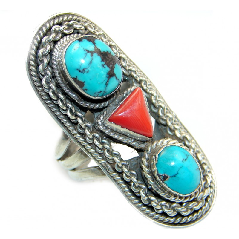 Natural Fossilized Coral Turquoise .925 Sterling Silver handmade ring s. 8