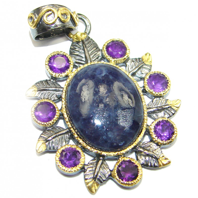 Perfect Tanzanite 14K Gold over .925 Sterling Silver handmade Pendant