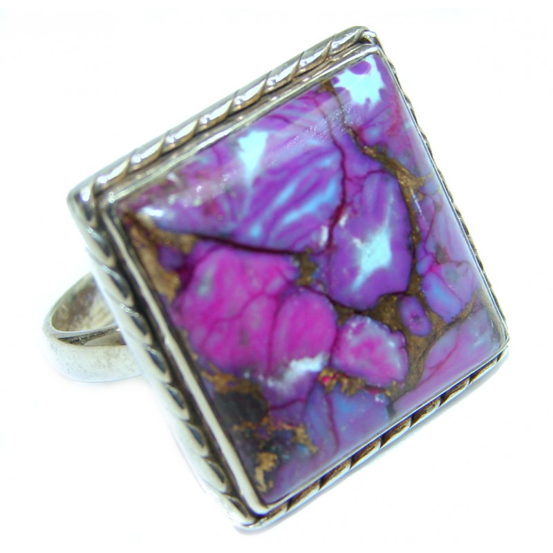 Huge Purple Turquoise .925 Sterling Silver ring; s. 8
