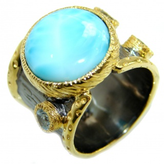 Treasure Blue Larimar two tones .925 Sterling Silver handmade ring s. 8 1/4