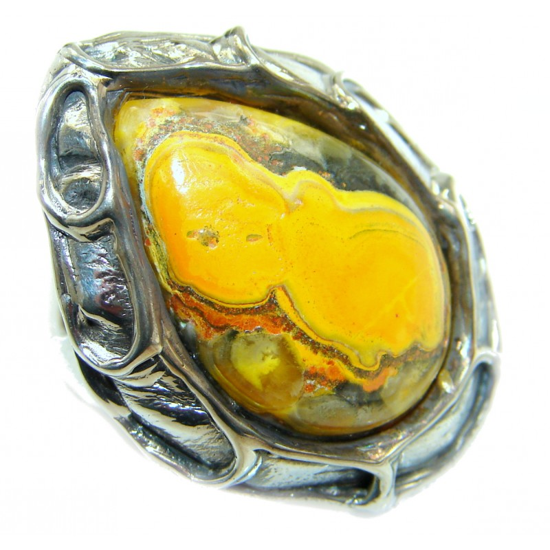 Vivid Beauty Yellow Bumble Bee oxidized .925 Jasper Sterling Silver ring s. 8