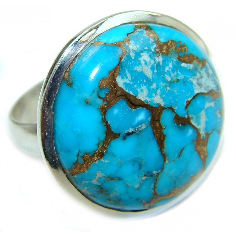 Copper Turquoise .925 Sterling Silver ring; s. 11