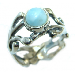 Natural Larimar .925 Sterling Silver handcrafted Ring s. 6 adjustable