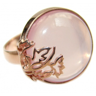 Best Quality Rose Quartz 14K Golod over .925 Sterling Silver ring s. 8 1/4