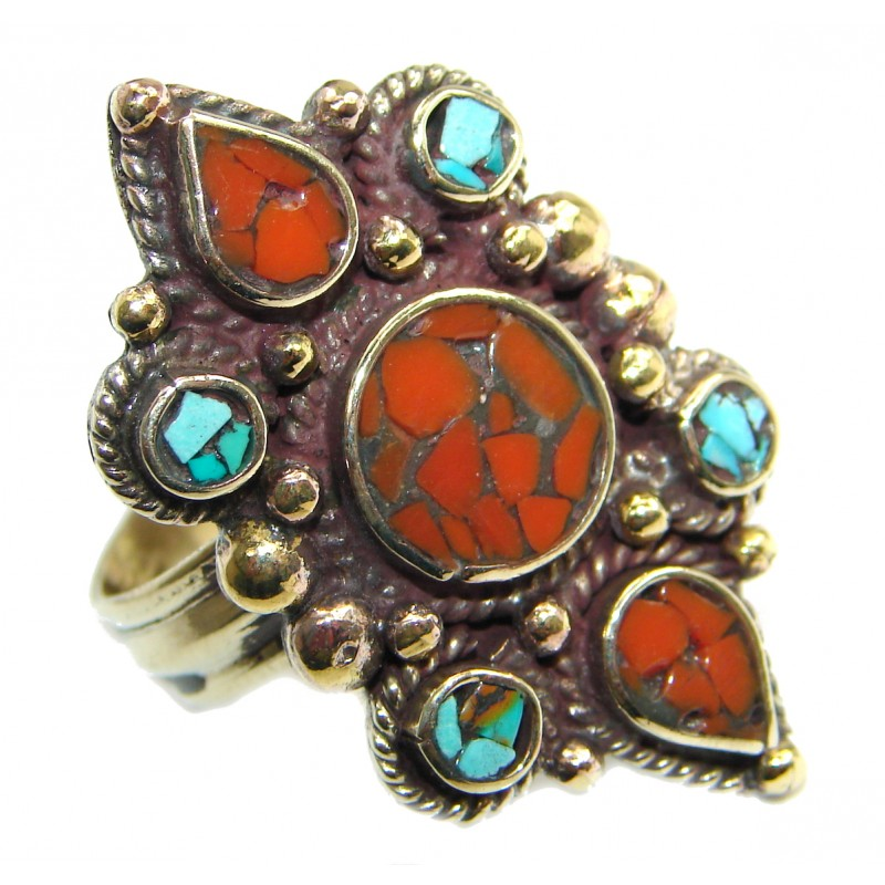 Natural Fossilized Coral Turquoise .925 Sterling Silver handmade ring s. 11