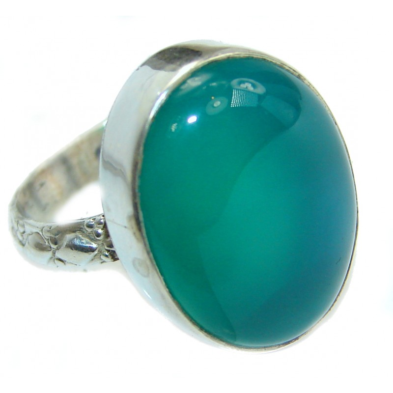 Natural Agate .925 Sterling Silver handmade Cocktail Ring s. 8