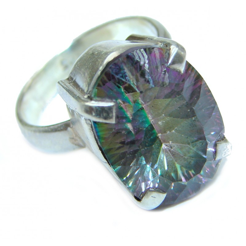 Huge Magic genuine Topaz .925 Sterling Silver handmadel Ring s. 8