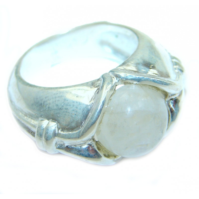 Fire Moonstone oxidized .925 Sterling Silver handcrafted ring size 8