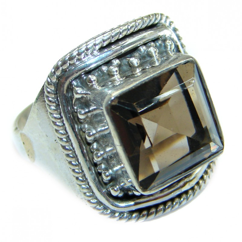 Dramatic Design Smoky Topaz .925 Sterling Silver handmade Cocktail Ring s. 7