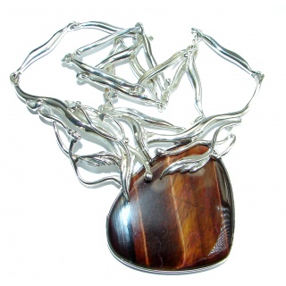Europian Design AAA Tigers Eye .925 Sterling Silver handcrafted necklace
