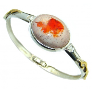 One of the kind Orange Mexican Fire Opal two tones .925 Sterling Silver Bracelet / Cuff