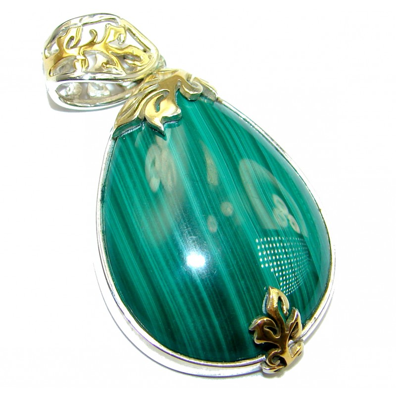 Top Quality Malachite Oxidized two tones .925 Sterling Silver handmade Pendant