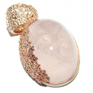 Timeless Beauty Rose Quartz 83ct Rose Gold over .925 Sterling Silver handcrafted Pendant