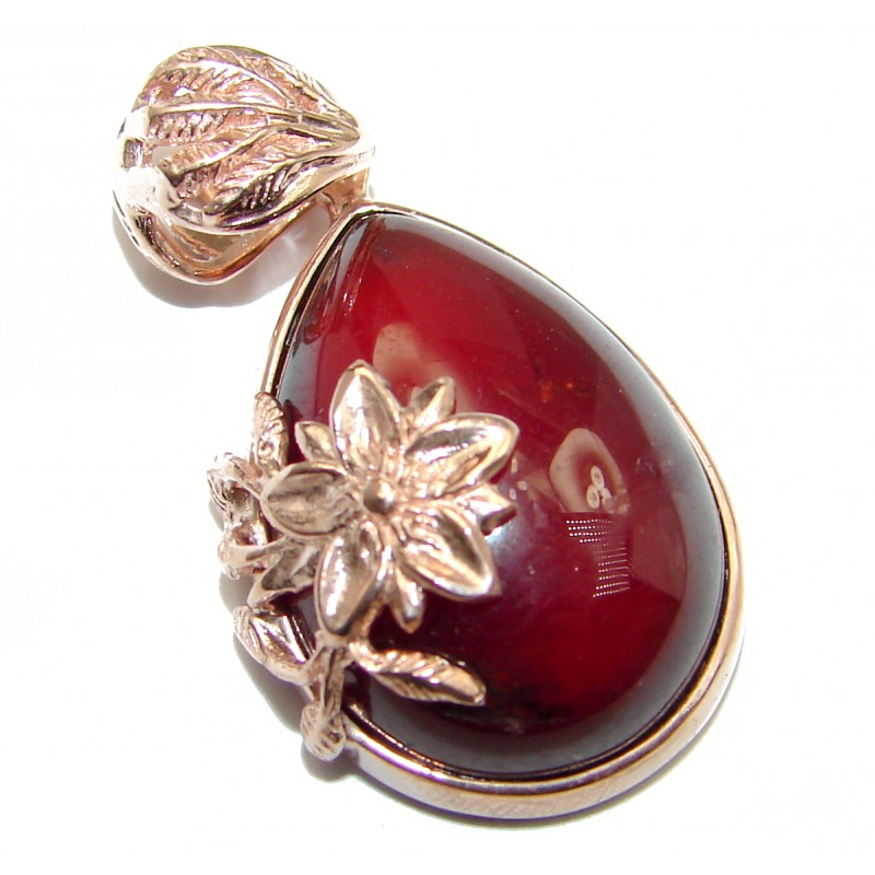 Beautiful genuine 45ct Garnet 18ct Rose Gold over .925 Sterling Silver handcrafted Pendant