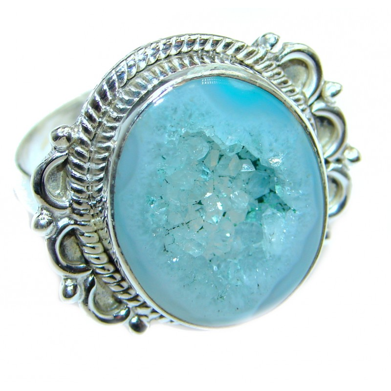 Exotic Druzy Agate .925 Silver Ring s. 9 3/4