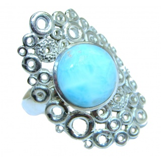 Treasure Blue Larimar .925 Sterling Silver handmade ring s. 7 ajustable