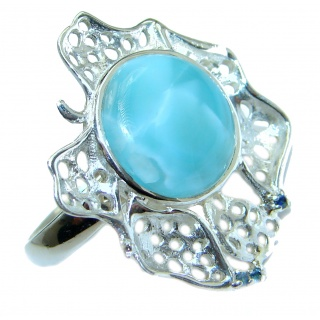 Bali Treasure Precious Blue Larimar .925 Sterling Silver handmade ring s. 7 adjustable