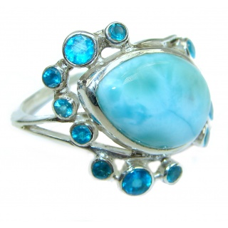 Natural Larimar Swiss Blue Topaz .925 Sterling Silver handcrafted Ring s. 7 1/2