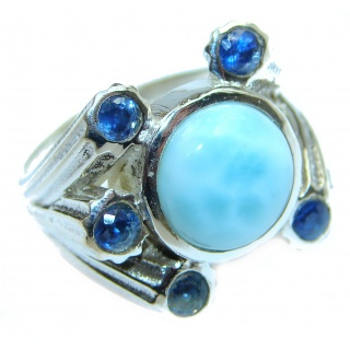 Natural Larimar Sapphire .925 Sterling Silver handcrafted Ring s. 7 1/4