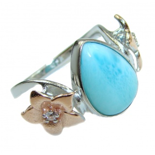 Treasure Blue Larimar two tones .925 Sterling Silver handmade ring s. 7