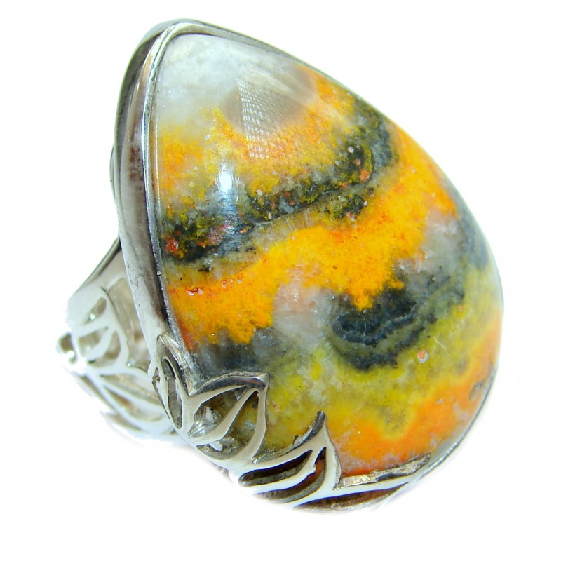 Vivid Beauty Yellow Bumble Bee oxidized .925 Jasper Sterling Silver ring s. 8 adjustable
