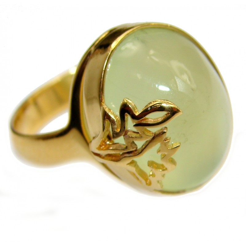 Natural Moss Prehnite 14K Gold over .925 Sterling Silver handmade ring s. 7 1/2