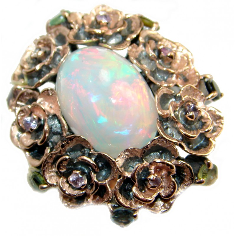 Natural 25.6ct Ethiopian Opal 18ct Gold Rhodium over .925 Sterling Silver ring size 7 adjustable