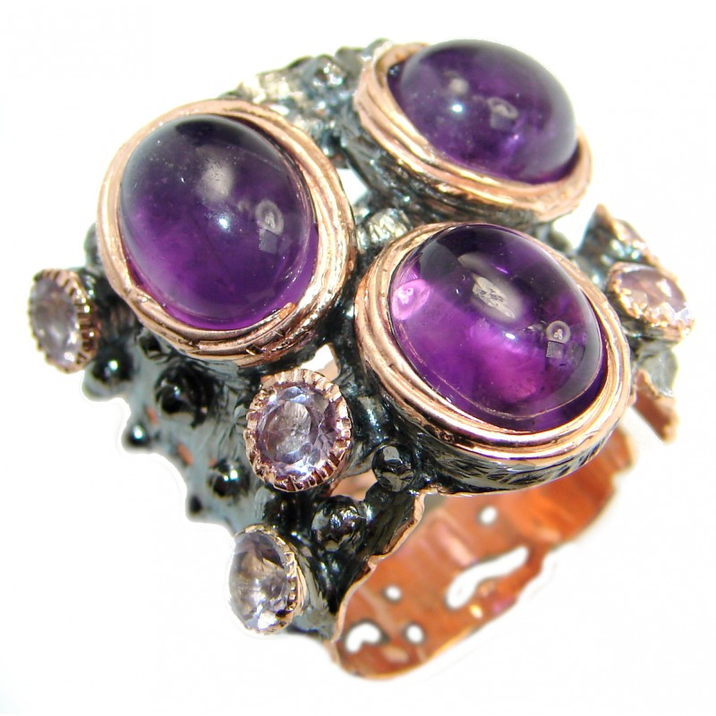 Natural Amethyst Gold over .925 Sterling Silver handmade Cocktail Ring s. 8 3/4