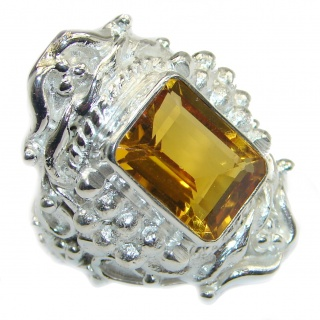 Huge Incredible Lemon Quartz .925 Sterling Silver Ring s. 8 3/4