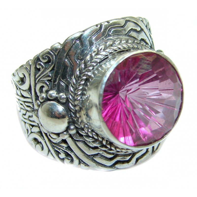 Exotic Pink Topaz .925 Sterling Silver handcrafted Ring s. 8 3/4