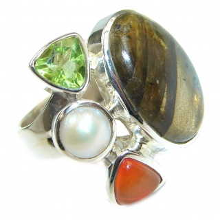 Perfect Labradorite .925 Sterling Silver handmade Ring s. 7 adjustable