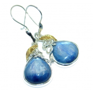 Floral Design Kyanite 14K Gold over .925 Sterling Silver handcrafted earrings