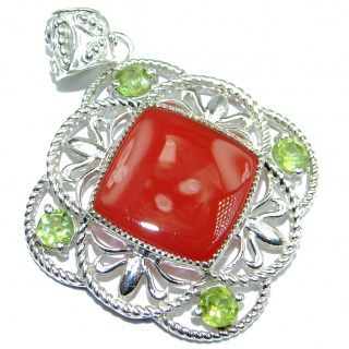 Beautiful authentic Carnelian .925 Sterling Silver handmade Pendant